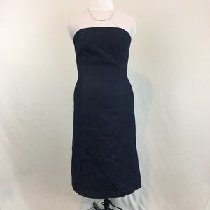 Ann Taylor Stretch Strapless Denim Midi Dress